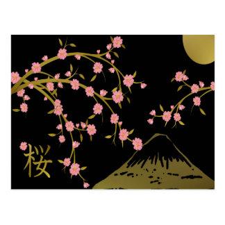 Pink Sakura Gold Black Japanese Screen Postcard