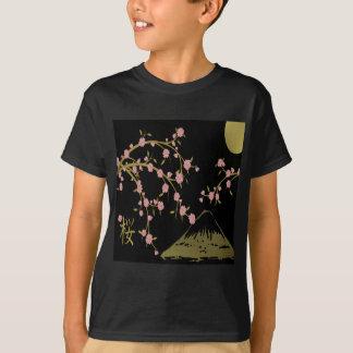 Pink Sakura Gold Black Japanese Screen T-Shirt