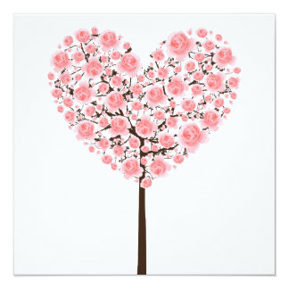 Pink sakura heart tree (Cherry blossom) Card