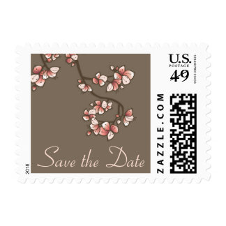 Pink Sakura Peach Blossoms Save The Date Stamps