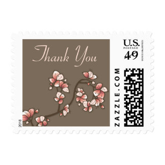 Pink Sakura Peach Blossoms Thank You Wedding Stamp