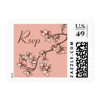 Pink Sakura Peach Blossoms Wedding RSVP Stamps