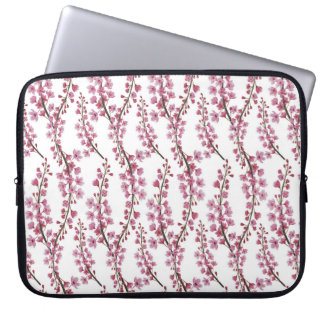 Pink sakura watercolor pattern computer sleeve
