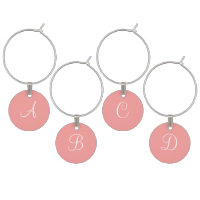 Pink Salmon and White Monogram Wedding Favors