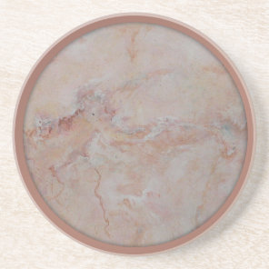 Pink salmon coral trim marble coasters