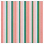 [ Thumbnail: Pink, Salmon, Dark Green, Dark Cyan & White Lines Fabric ]
