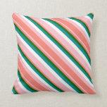 [ Thumbnail: Pink, Salmon, Dark Green, Dark Cyan & White Lines Throw Pillow ]
