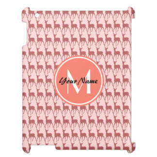 Pink Salmon Deer, Custom Monogram, Personalized Case For The iPad