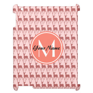Pink Salmon Deer, Custom Monogram, Personalized Cover For The iPad