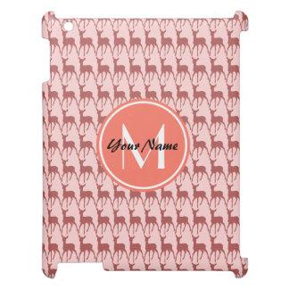 Pink Salmon Deer, Custom Monogram, Personalized iPad Case