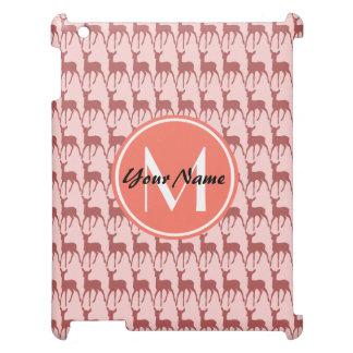 Pink Salmon Deer, Custom Monogram, Personalized iPad Covers