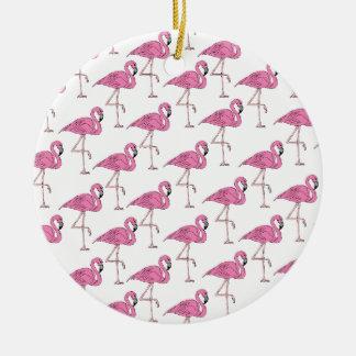 Pink Salmon - Flamingo Pattern Ceramic Ornament