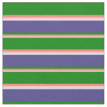 [ Thumbnail: Pink, Salmon, Green, Dark Slate Blue, and White Fabric ]