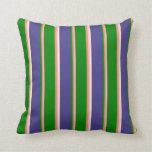 [ Thumbnail: Pink, Salmon, Green, Dark Slate Blue, and White Throw Pillow ]