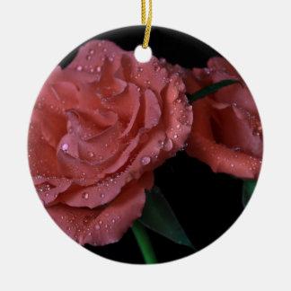 Pink Salmon Roses Ceramic Ornament
