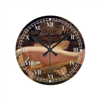 Pink Salmon Round Clock
