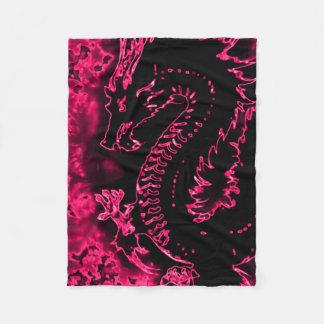 Pink Samurai Spirit Dragon Fleece Blanket