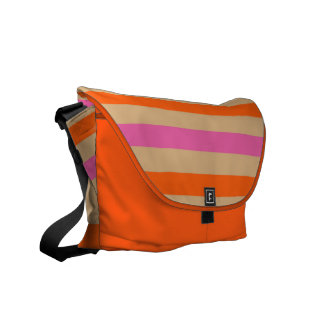 Pink, Sand and Orange Striped Bag Courier Bags