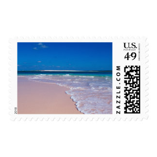 Pink sand beach at Conch Bay, Cat Island, Postage