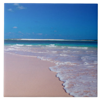 Pink sand beach at Conch Bay, Cat Island, Tile