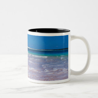 Pink sand beach at Conch Bay, Cat Island, Two-Tone Coffee Mug