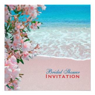 Pink Sand Beach Bridal Shower Custom Announcements