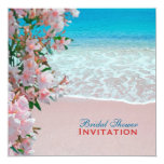 "Pink Sand Beach Bridal Shower 5.25"" Square Invitation Card"