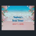 "Pink Sand Beach Bridal Shower Yard Sign<br><div class=""desc"">Beautiful pink flowers frame this lovely pink sand beach with white foam surf and the bright blue ocean in the background makes a perfect destination beach wedding line of products. Text is in coordinating blue and pink. All text can be customized as per color, size, font and wording. Need help?...</div>"