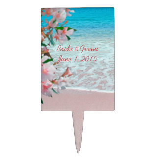 Pink Sand Beach Party Cake Topper