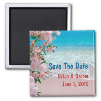Pink Sand Beach Save The Date Magnet