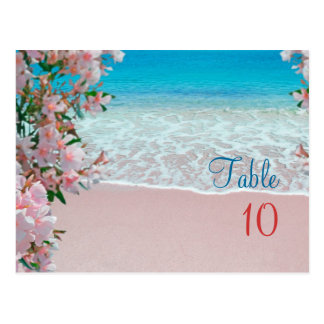Pink Sand Beach Table Numbers Postcard