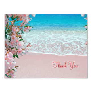 "Pink Sand Beach Thank You Card 4.25"" X 5.5"" Invitation Card"