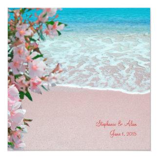 Pink Sand Beach Wedding Invitation