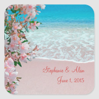 Pink Sand Beach Wedding Stickers