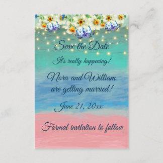 Pink Sand Beach Wedding Theme, Save the Date Enclosure Card
