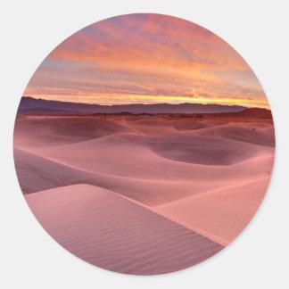 Pink sand dunes, Death Valley, CA Classic Round Sticker