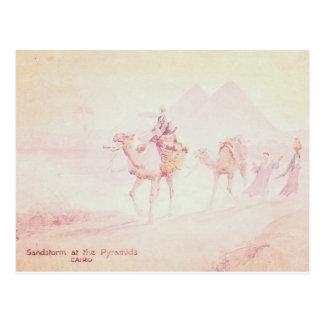 Pink Sandstorm at Pyramids Postcard