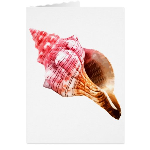 Pink Sandy Conch Shell Greeting Card