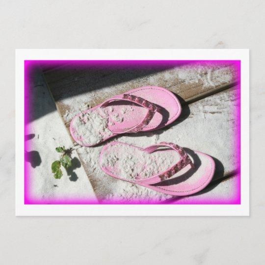 437cb22a24c750 Pink sandy flip flop sandals on Florida beach