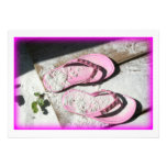 Pink sandy flip flop sandals on Florida beach Custom Invites