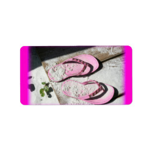 82deab2ba41f1b Pink sandy flip flop sandals on Florida beach Label