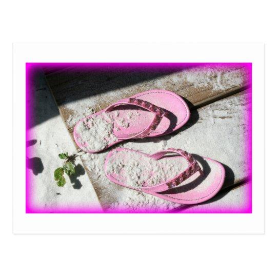 Pink sandy flip flop sandals on Florida beach Postcard