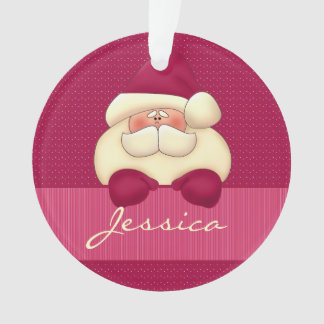 Pink Santa Christmas with Name Ornament
