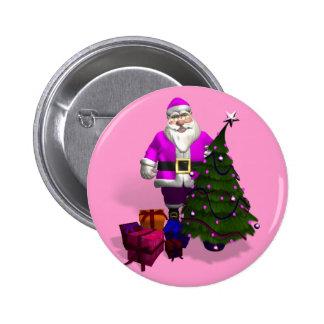 Pink Santa Claus Pinback Button