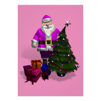 Pink Santa Claus Poster