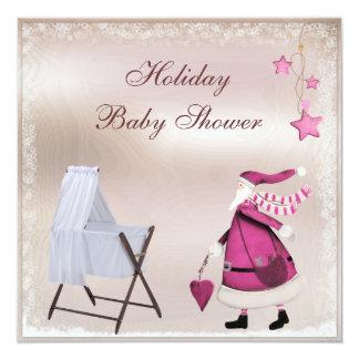 Pink Santa & Crib Girl's Holiday Baby Shower Card