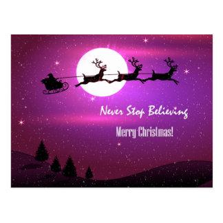Pink Santa Never Stop Believing Merry Christmas Postcard