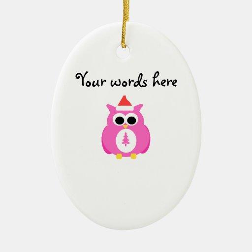 Pink santa owl christmas tree ornaments