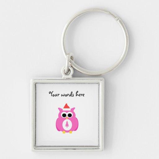 Pink santa owl keychain