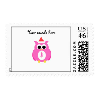 Pink santa owl stamps